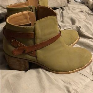 Olive green and brown ankle boots